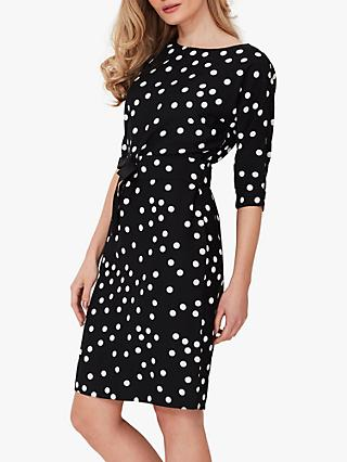 Sosandar Spot Print Shift Dress, Black/White