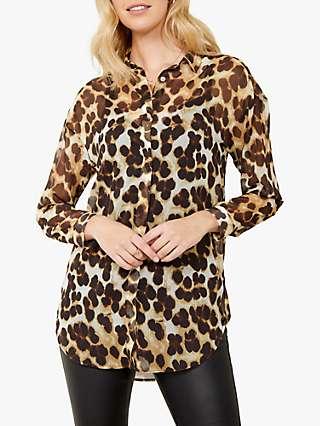 Sosandar Longline Leopard Print Shirt, Brown