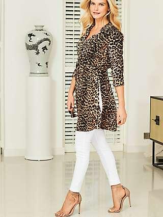 Sosandar Side Tie Leopard Print Longline Shirt, Brown