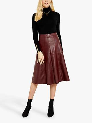 Sosandar Leather Look Panelled Midi Skirt, Burgundy