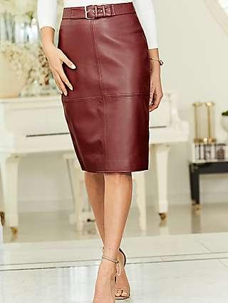 Sosandar Buckle Leather Pencil Skirt