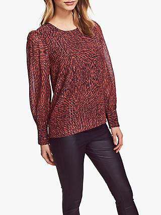 Sosandar Swirl Print Button Cuff Top, Red