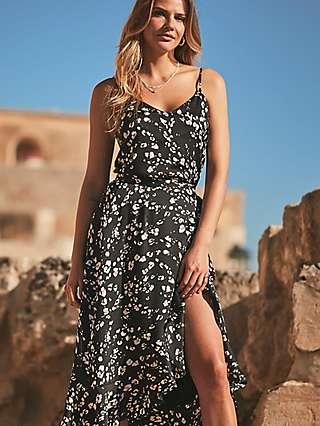 Sosandar Abstract Floral Print Wrap Skirt, Black