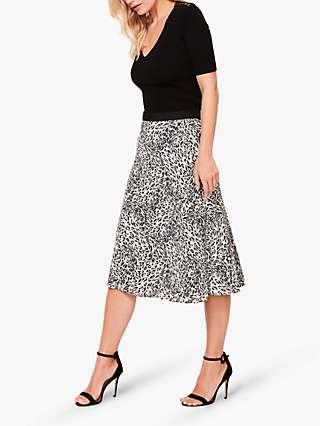 Sosandar Leopard Print A-Line Midi Skirt
