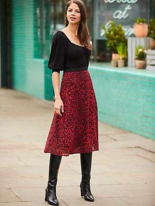 Sosandar Leopard Print Midi Skirt, Red