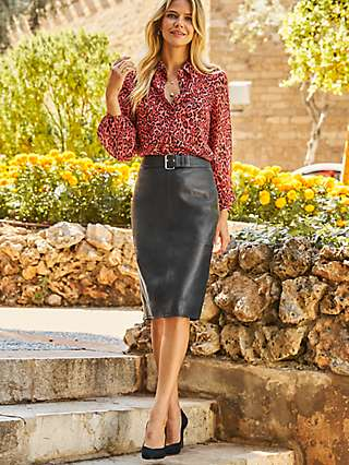 Sosandar Buckle Leather Pencil Skirt
