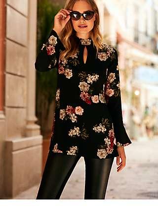 Sosandar Floral Print Top, Black