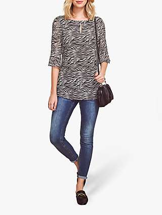 Sosandar Fluted Sleeve Zebra Print Top, Black/White