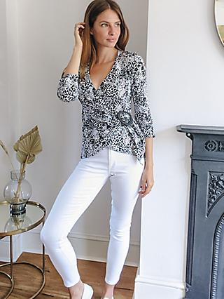 Sosandar Animal Print Wrap Top, Black/White