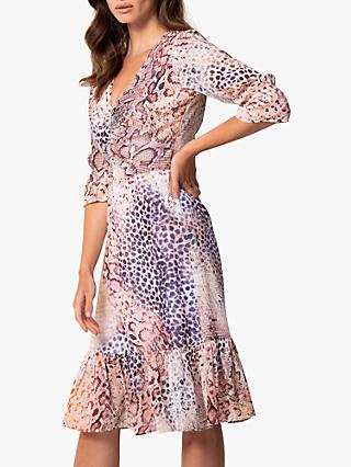 Sosandar Ombre Animal Print Fit And Flare Dress, Pink
