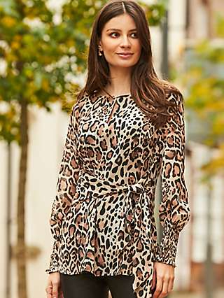 Sosandar Leopard Print Tie Top, Brown