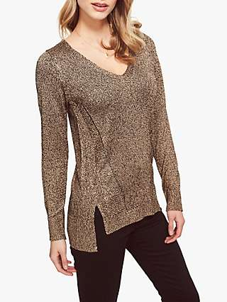 Sosandar V-Neck Metallic Top, Gold