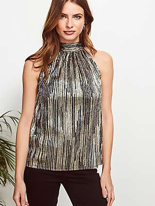 Sosandar Metallic Stripe Top, Gold