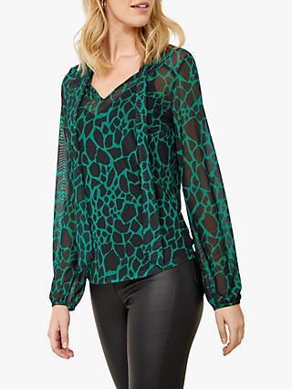 Sosandar Moroccan Print Tie Neck Top, Green