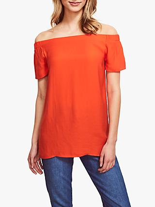 Sosandar Longline Bardot Top, Citrus Orange