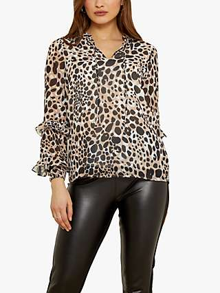 Sosandar Leopard Print Ruffle Sleeve Top, Brown/Multi
