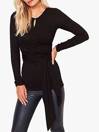 Sosandar Wrap Tie Jersey Top, Black