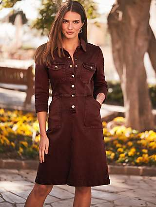 Sosandar Stretch Denim Shirt Dress, Burgundy