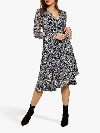 Sosandar Snow Leopard Print Wrap Dress, Black/Multi