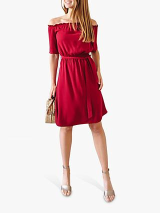 Sosandar Stretch Waist Summer Dress, Berry