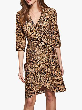 Sosandar Leopard Print Wrap Front Shirt Dress, Pale Gold/Multi