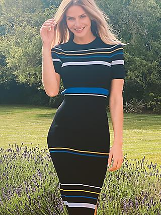 Sosandar Knitted Striped Knee Length Dress, Black