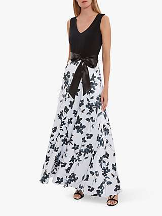Gina Bacconi Ellie Floral Print Satin Belt Dress, White
