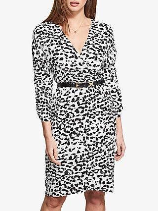 Sosandar Animal Print Faux Wrap Dress, Black/White
