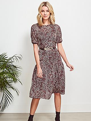 Sosandar Leopard Print Tiered Hem Midi Dress, Brown
