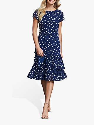 Sosandar Polka Dot Fit and Flare Dress, Blue