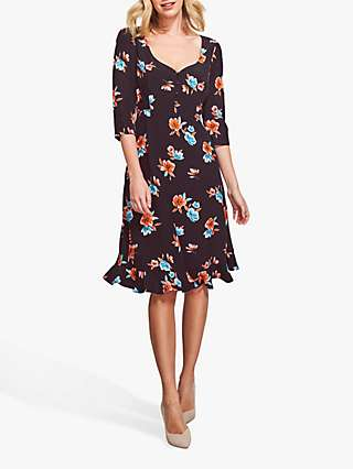 Sosandar Floral Print Sweetheart Neck Dress, Black/Multi
