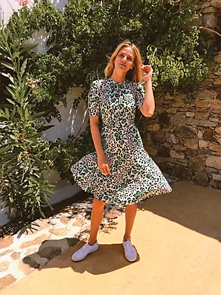Sosandar Animal Print Twist Neck Dress, Green/White