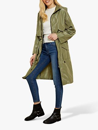 Sosandar Tie Waist Light Weight Parka Jacket, Khaki Green