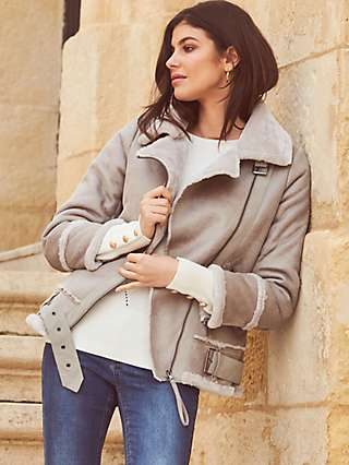 Sosandar Faux Shearling Biker Jacket, Grey