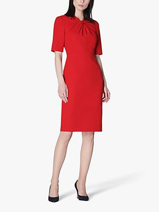 L.K.Bennett Caterina Twist Neck Knee Length Dress, Deep Red