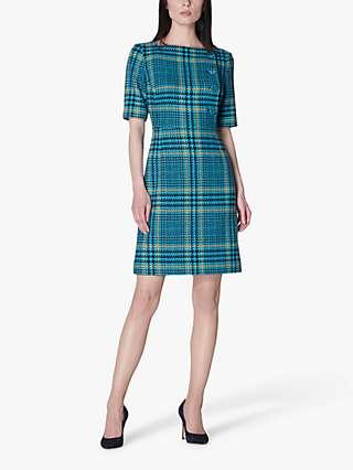L.K.Bennett Aimee Wool Blend Check Tweed Mini Dress, Turquoise/Multi