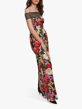 Gina Bacconi Leilyn Off Shoulder Floral Maxi Dress, Black/Multi