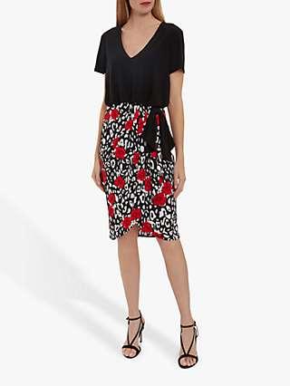 Gina Bacconi Nelia Floral Jersey Dress, Black