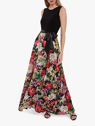 Gina Bacconi Jelina Floral Print Satin Tie Maxi Dress, Multi