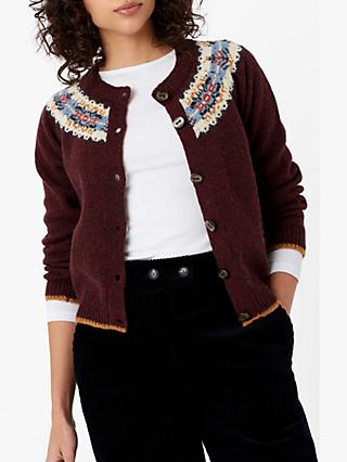 Brora Wool Fair Isle Yoke Cardigan, Bordeaux