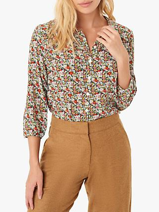 Brora Liberty Print Silk Peter Pan Blouse, Autumn Meadow