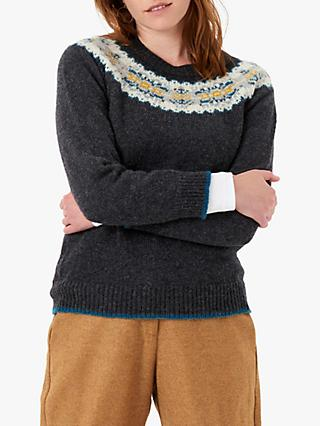 Brora Wool Fair Isle Yoke Jumper, Charcoal