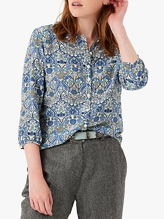 Brora Liberty Print Silk Peter Pan Blouse, Lapis Botanical