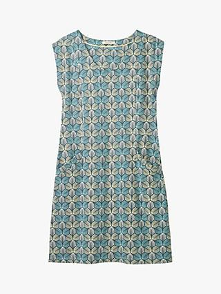 White Stuff Lena Leaf Print Dress, Teal