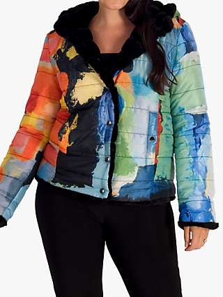 Chesca Faux Fur Reversible Hooded Abstract Jacket, Multi/Black