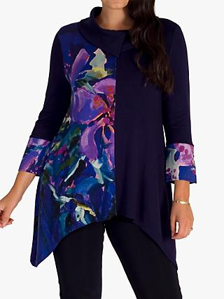 chesca Abstract Floral Cowl Neck Top, Purple