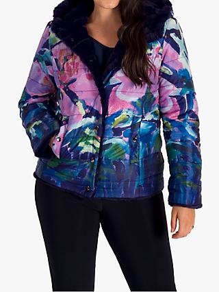 chesca Floral Reversible Faux Fur Hooded Jacket, Purple