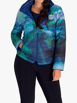 chesca Quilted Reversible Abstract Jacket, Cobalt