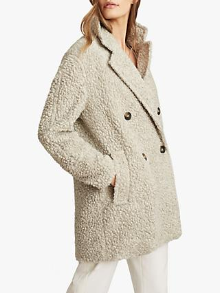 Reiss Sky Textured Wool Blend Teddy Coat, Light Grey