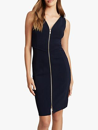Reiss Eva Zip Front Bodycon Dress, Navy